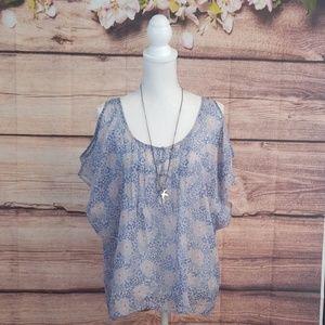 Lauren Conrad sheer cold shoulder blouse